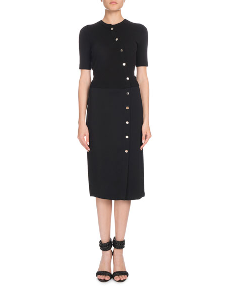 Short-Sleeve Button-Front Cady-Knit Top Fitted Midi Dress
