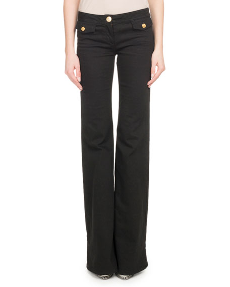 Flare-Leg Stretch-Cotton Pants