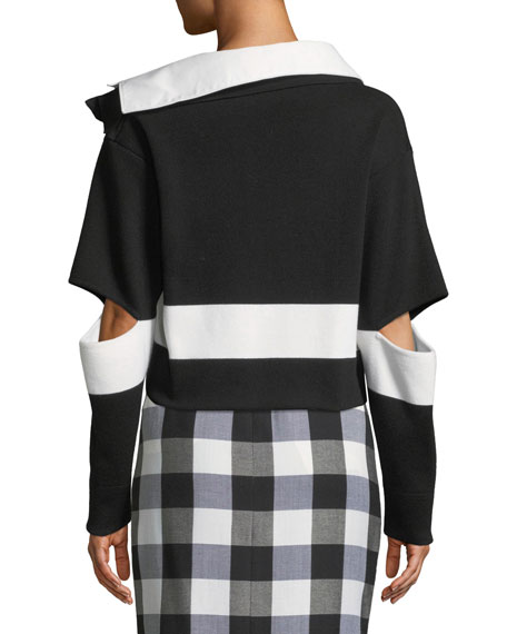 Open-Elbow Striped Wool Cropped Polo Sweater