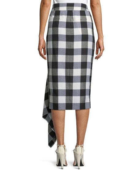 Mixed Gingham Draped Slit Midi Skirt