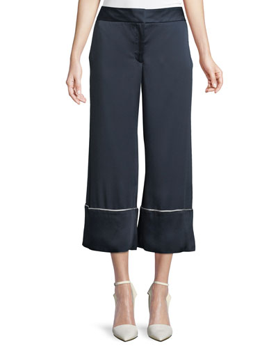 Wide-Leg Satin Ankle Pajama Pants with Piping