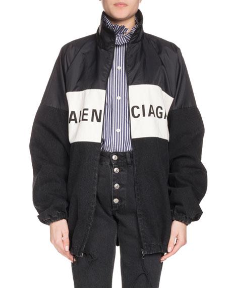 Oversized Printed Denim And Shell Jacket, Black