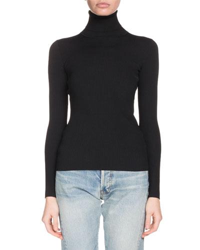Turtleneck Long-Sleeve Ribbed Sweater with Logo Back