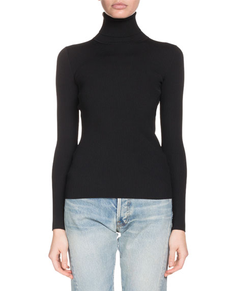 Turtleneck Long-Sleeve Ribbed Sweater with Logo Back