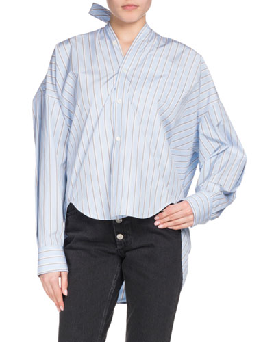 Button-Down Striped Cotton Swing Shirt with Logo & Tie Detail