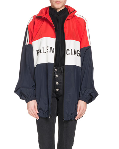 Zip-Front Colorblocked Logo Nylon Jacket