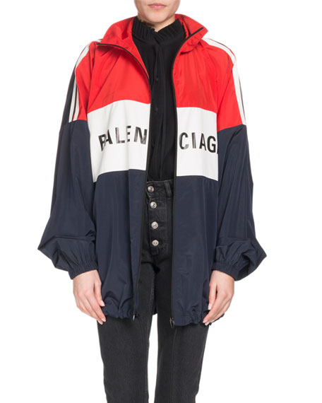 Oversized Color-Block Printed Shell Jacket, Red Pattern