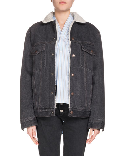 Button-Down Faux-Shearling Fleece Denim Jacket