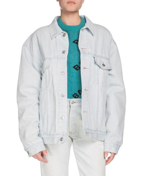 Embossed-Logo Button-Down Denim Jacket, Blue