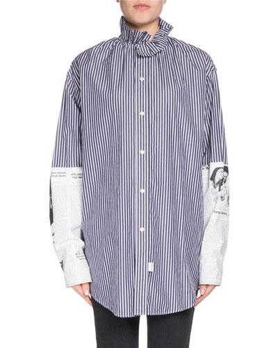 Button-Down Newspaper-Sleeve Cotton Poplin Shirt