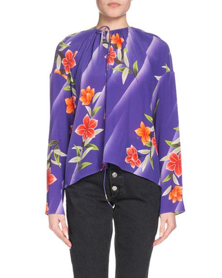 d8bf0e41e3a88 Balenciaga Tie-Neck Floral-Print Silk Blouse