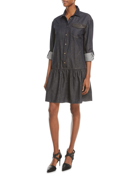 Drop-Waist Button-Front Denim Dress w/ Monili Pocket