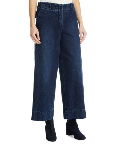 Wide-Leg Denim Pants