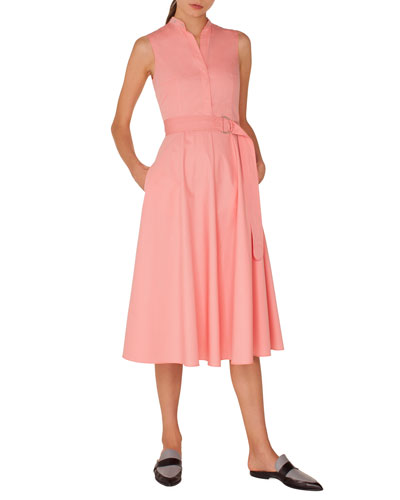 Sleeveless Button-Front Belted A-Line Cotton Midi Dress