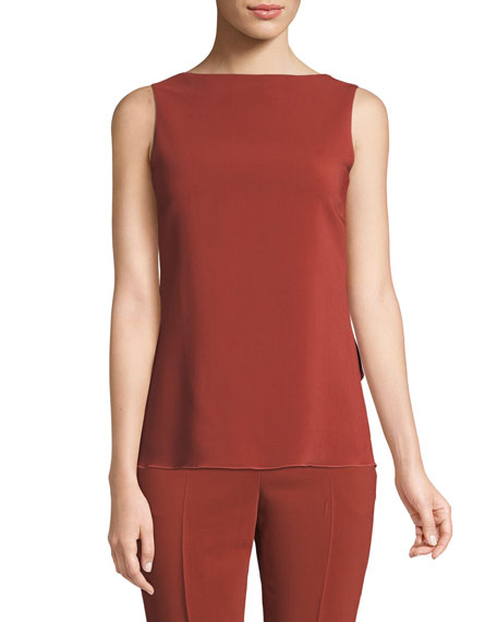 Low-Back Draped Stretch Cady Top