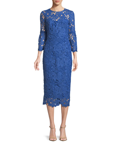 Floral-Lace Flounce-Sleeve Fitted Dress
