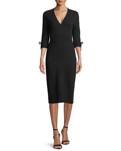 V-Neck 3/4-Sleeve Fitted Sheath Dress