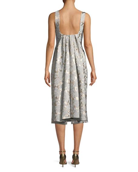 Square-Neck Sleeveless Floral-Jacquard Watteau-Back Midi Dress