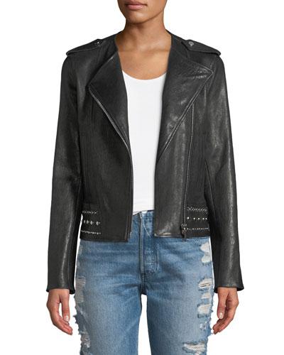 No-Collar Studded Stretch Leather Moto Jacket