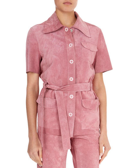 Suede Button-Front Belted Safari Top