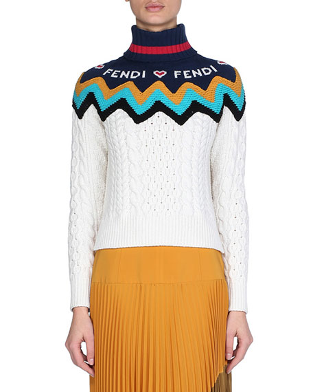 Turtleneck Chunky Cashmere Cable-Knit Sweater with Fendi Intarsia