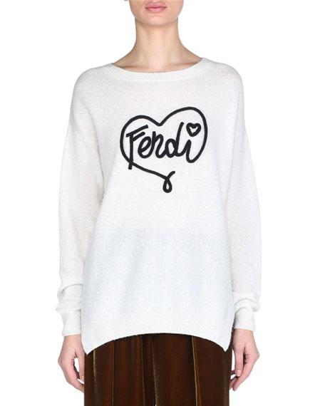 Crewneck Long-Sleeve Fendi-Heart Cashmere Sweater