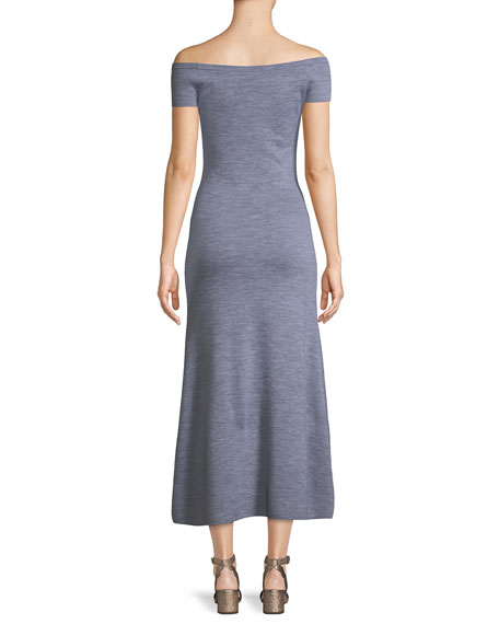 Larrington Off-the-Shoulder Stretch-Wool Cashmere Maxi Dress