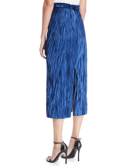 Pleated Satin Midi Skirt