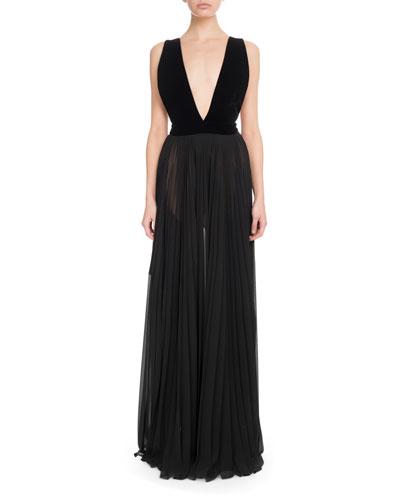 Sleeveless Velvet-Top Pleated-Skirt Evening Gown