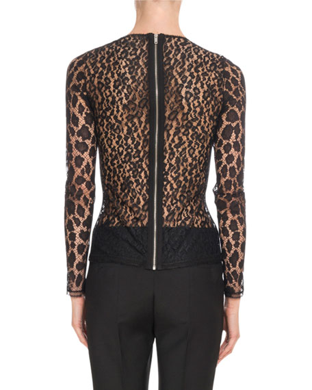 Crewneck Long-Sleeve Fitted Sheer Leopard Lace Top