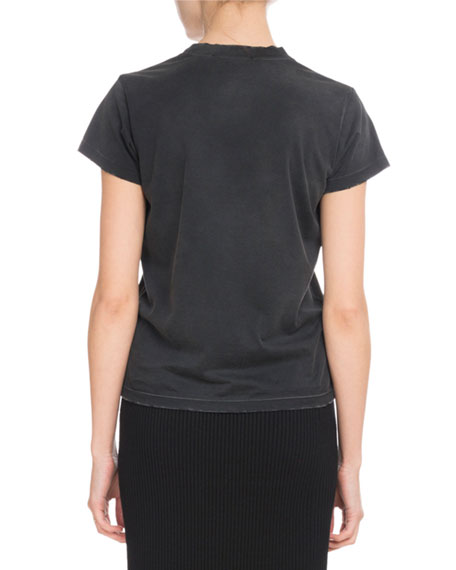 Givenchy Crewneck Short-Sleeve Distressed Cotton Logo Tee In Black