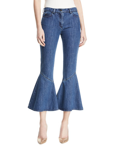 Mid-Wash Flared-Leg Cropped Jeans
