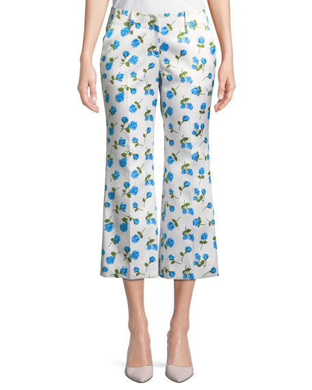 Michael Kors Collection Scattered Rose-Print Flared-Leg Duchess