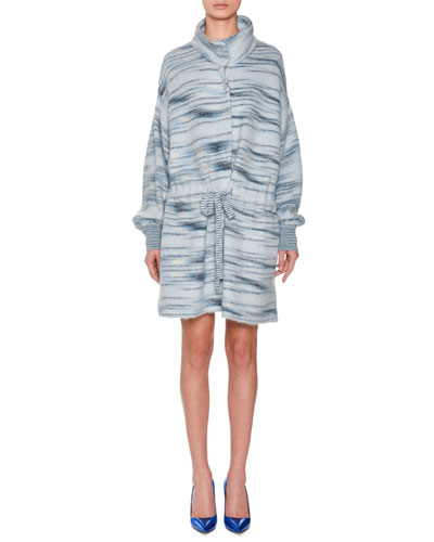 Funnel-Collar Drawstring-Waist Space-dye Alpaca-Mohair Blend Coat and Matching Items