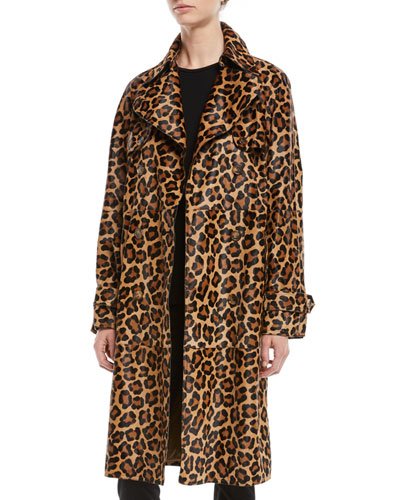 Leopard-Print Double-Breasted Mohair Trench Coat