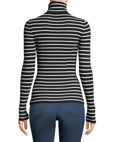 Long-Sleeve Striped Turtleneck Top
