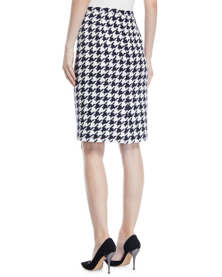 Houndstooth Tweed Maxi Skirt w/ Leg Slit