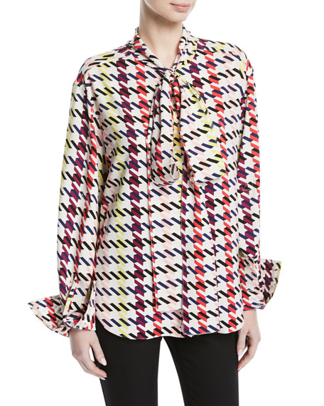 Image 1 of 1: Scarf-Neck Long-Sleeve Houndstooth-Print Silk Top