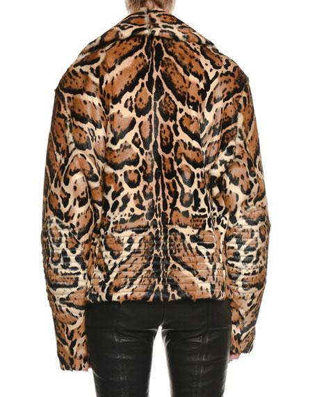 Zip-Front Ocelot-Print Fur Oversized Biker Jacket with Leather Trim