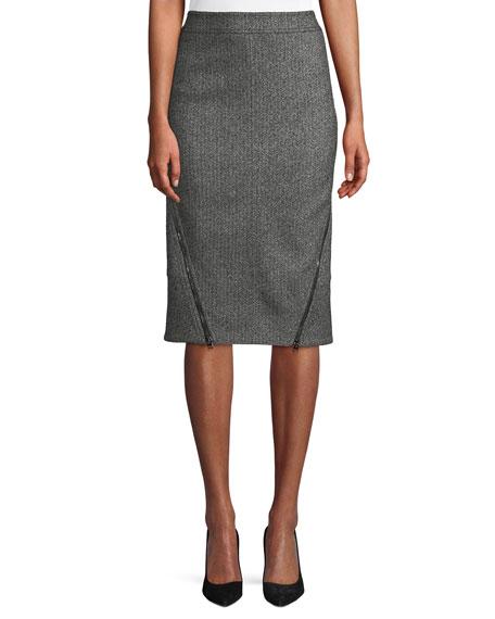 Herringbone Tweed Straight Knee-Length Pencil Skirt