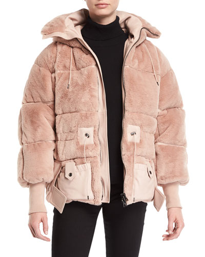 Oversized Faux-Fur Puffer Coat