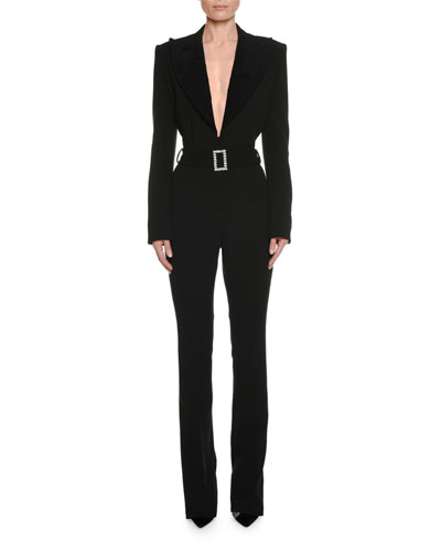 Long-Sleeve Plunging Tuxedo Straight-Leg Jumpsuit with Velvet Lapel