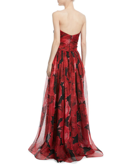 Strapless Floral-Print Mesh Organza Evening Gown