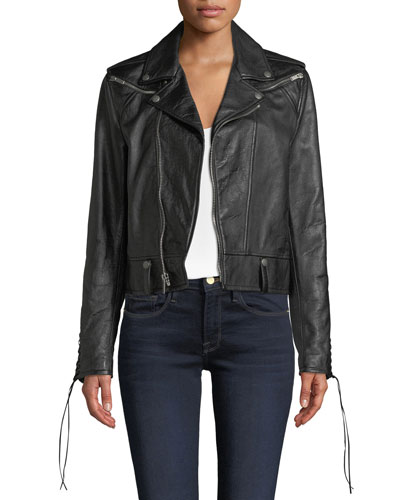 Zip-Front Leather Jacket with Lacing