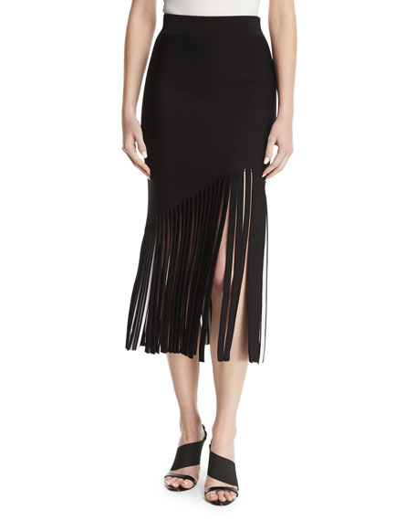 CUSHNIE High-Waist Fitted Crepe Midi Skirt with Fringed
