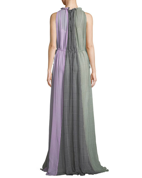 High Halter-Neck Sleeveless Ruched Plaid Silk Gown