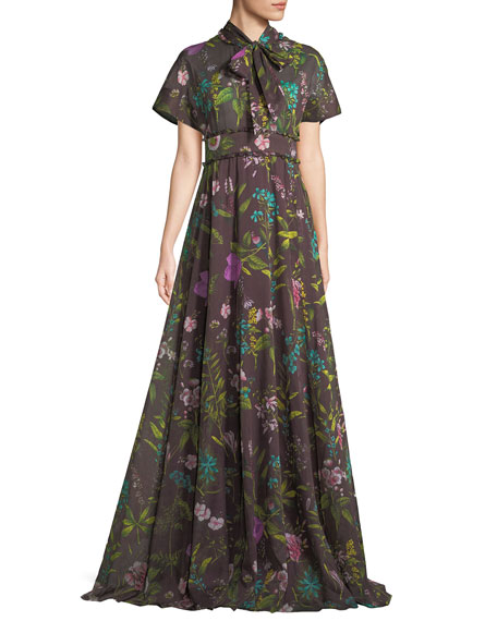 TIE-BOW SHORT-SLEEVE FLORAL-PRINT GOWN