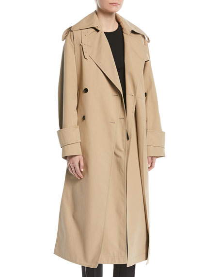 c3c390c821cf Valentino Double-Breasted Belted Mid-Calf Gabardine Trench Coat