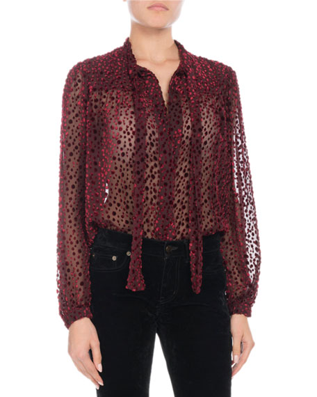Tie-Neck Long-Sleeve Velvet Burnout Blouse
