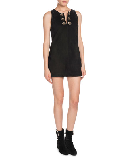 Sleeveless A-Line Suede Mini Dress With Medallions in Black